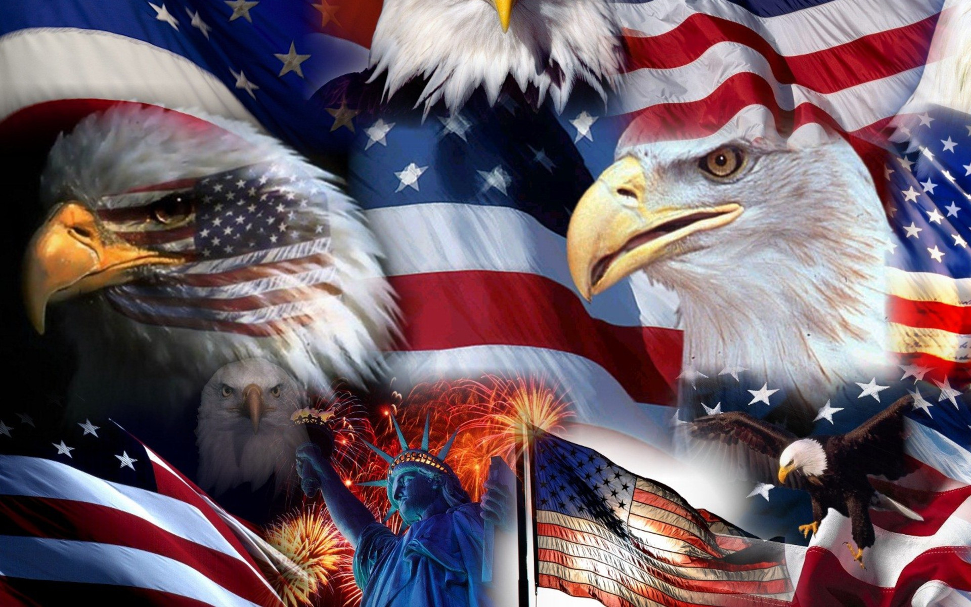 American flag with an American eagle. Credit to thewallpaper.co