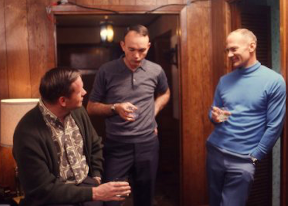 Armstrong, Collins, and Aldrin chat over drinks in Houston, March 1969. Credit: Time Magazine