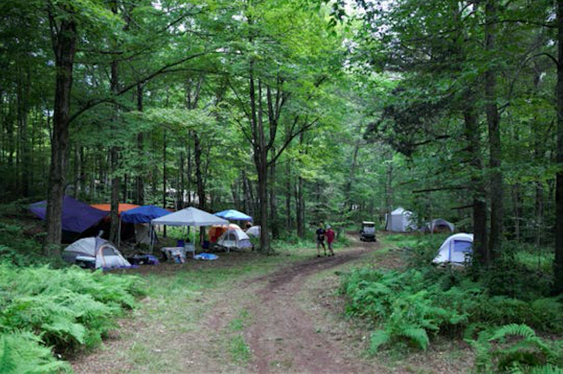 Tents and campsites in the woods near Max Yasgur's Farm in Bethel, NY, on 15 August 2019. Credit: Georgie Silvarole/Rochester Democrat and Chronicle