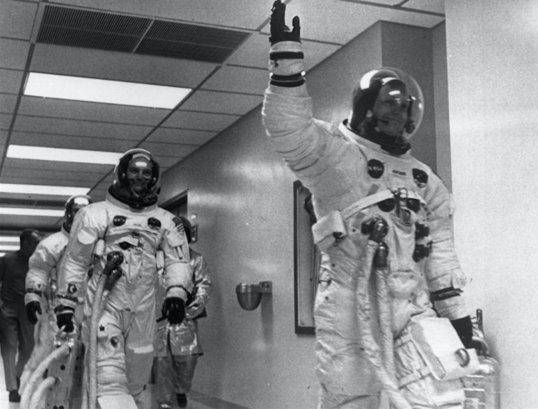 Neil Armstrong leads crewmates Buzz Aldrin and Michael Collins out of the space centre on the Apollo 11 space mission to the Moon. Credit: CNN