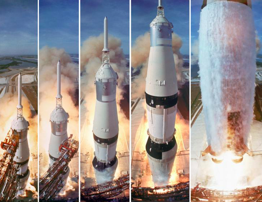 The Saturn V clears the launch pad and Apollo 11 blasted the first humans to the moon on 16th July 1969. Credit: CNN