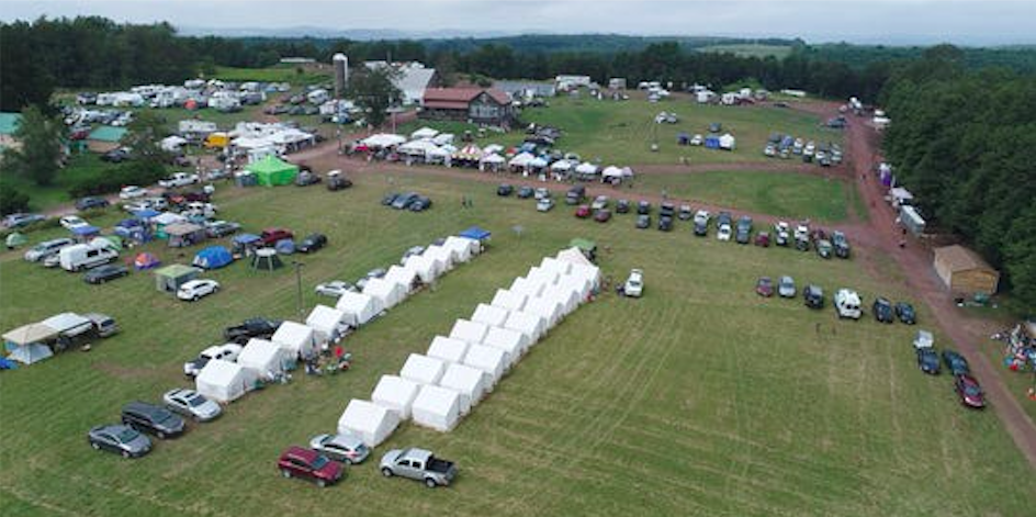 Glamping tents set up at the Yasgurs Road Reunion in Bethel, 16 August 2019. Credit: Peter Carr and John Meore/The Journal News