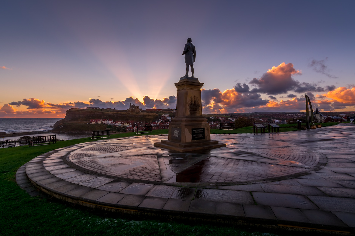 The statue of Captain Cook in Whitby harbour. Credit: Tim Hill