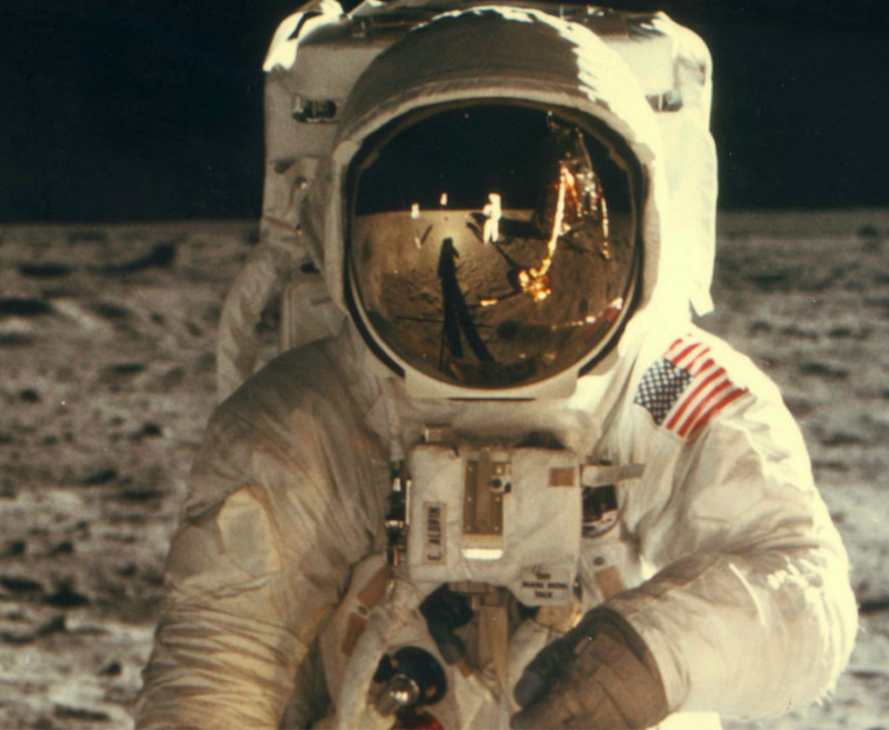 Neil Armstrong's reflection in Buzz Aldrin's helmet on the lunar surface on 20th July 1969. Credit: CNN
