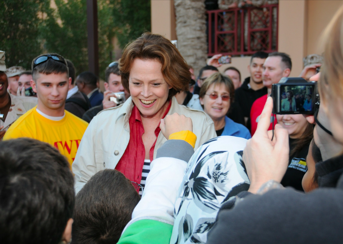 Sigourney Weave meeting her fans