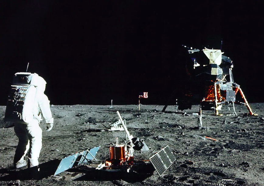 Buzz Aldrin stands near a scientific experiment on the lunar surface. Credit: The Telegraph/Getty Images
