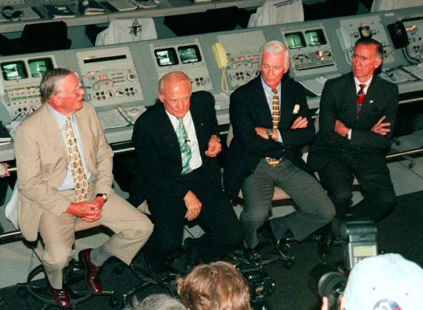 Former Apollo astronauts – Neil Armstrong, Buzz Aldrin, Gene Cernan, and Walt Cunningham – meet with the media at the Saturn V Centre prior to a 30th-anniversary banquet, on 16th July 1999. Credit: CNN