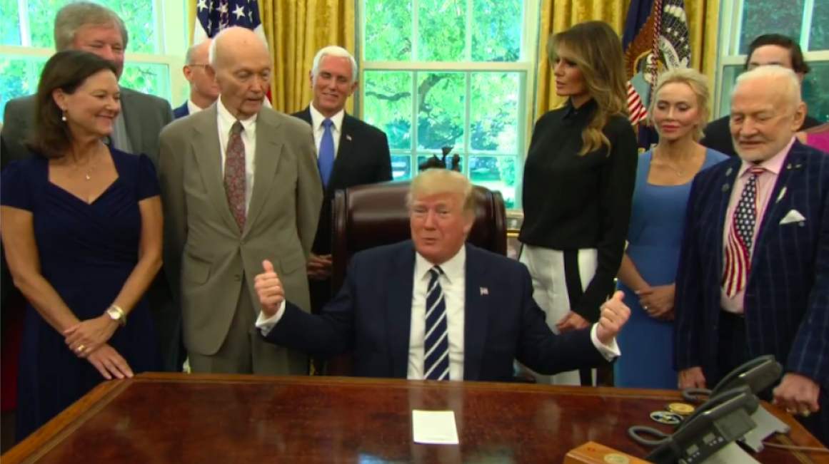Collins and Aldrin meeting the President in the Oval Office on 19th July 2019. Credit: AP