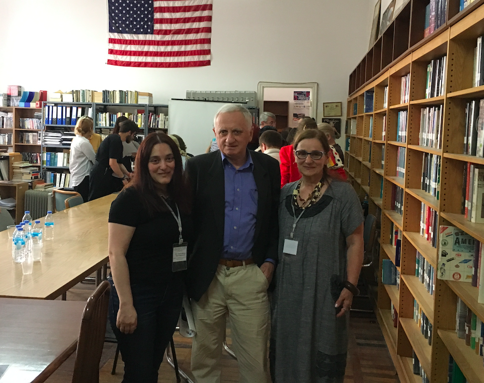Professors from BRAMS Institute (from left to right) Maia Nadareishvili, Mamuka Dolidze and Diana Tkebuchava on the American Studies Conference 2019. Credit: BRAMS/Maia Nadareishvili